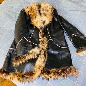 Coat Genuine leather sheepskin fur raccoon used